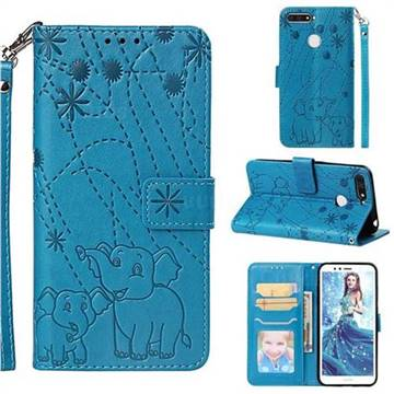 Embossing Fireworks Elephant Leather Wallet Case for Huawei Y6 (2018) - Blue