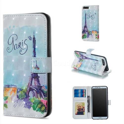 Paris Tower 3D Painted Leather Phone Wallet Case for Huawei Y6 (2018)
