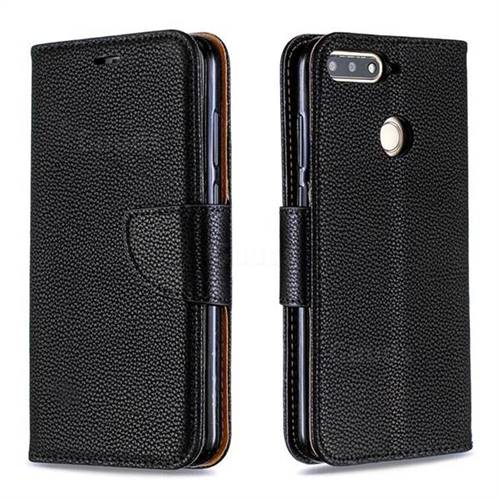Classic Luxury Litchi Leather Phone Wallet Case for Huawei Y6 (2018) - Black