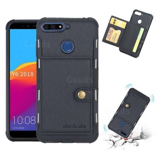 Brush Multi-function Leather Phone Case for Huawei Y6 (2018) - Black