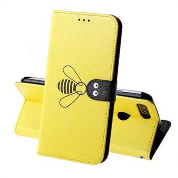 Silk Texture Bee Pattern Leather Phone Case for Huawei Y6 (2018) - Yellow