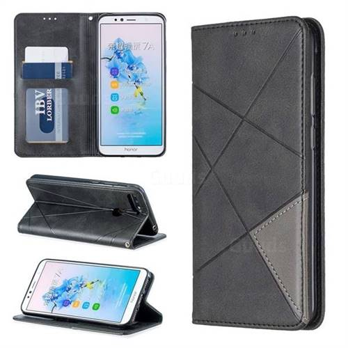 Prismatic Slim Magnetic Sucking Stitching Wallet Flip Cover for Huawei Y6 (2018) - Black