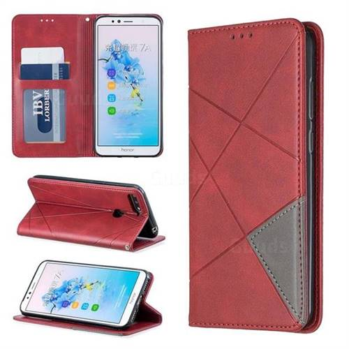 Prismatic Slim Magnetic Sucking Stitching Wallet Flip Cover for Huawei Y6 (2018) - Red