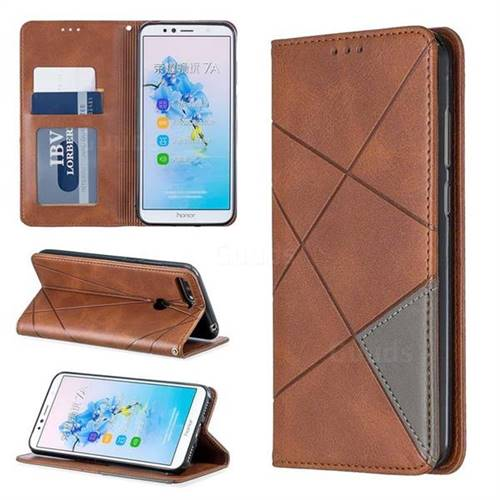 Prismatic Slim Magnetic Sucking Stitching Wallet Flip Cover for Huawei Y6 (2018) - Brown