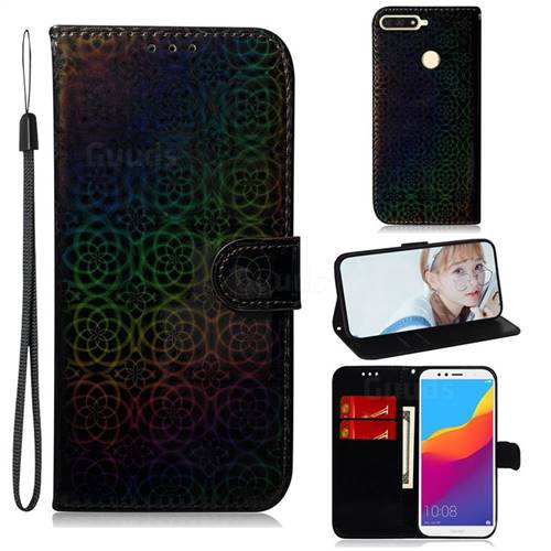 Laser Circle Shining Leather Wallet Phone Case for Huawei Y6 (2018) - Black