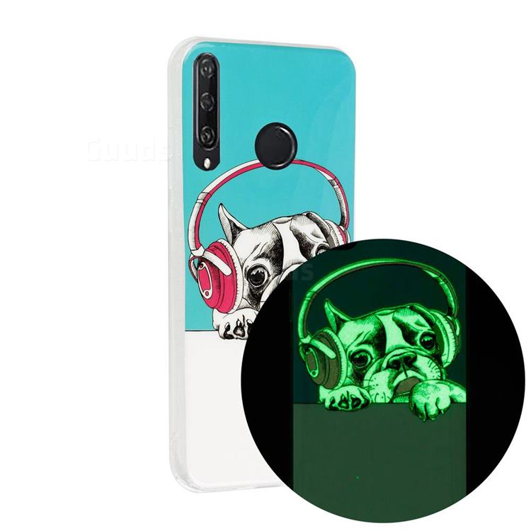 Headphone Puppy Noctilucent Soft TPU Back Cover for Huawei Y6p