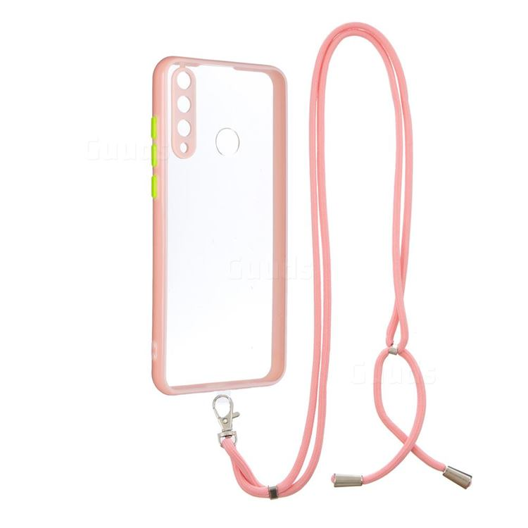 Necklace Cross-body Lanyard Strap Cord Phone Case Cover for Huawei Y6p - Pink