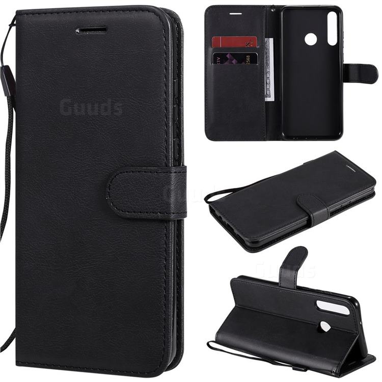 Retro Greek Classic Smooth PU Leather Wallet Phone Case for Huawei Y6p - Black