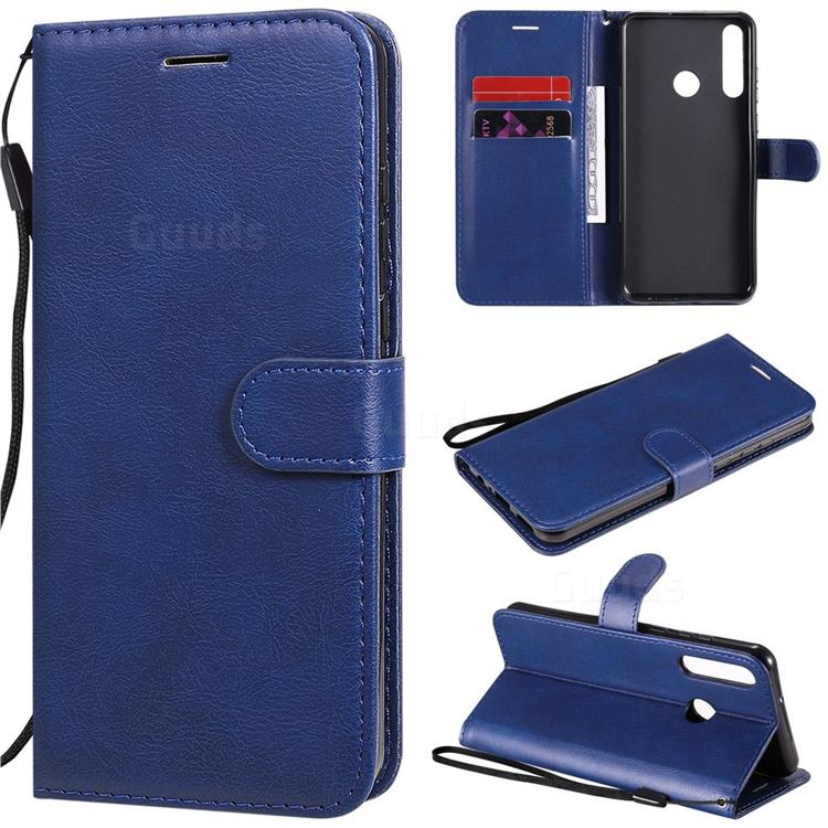 Retro Greek Classic Smooth PU Leather Wallet Phone Case for Huawei Y6p - Blue