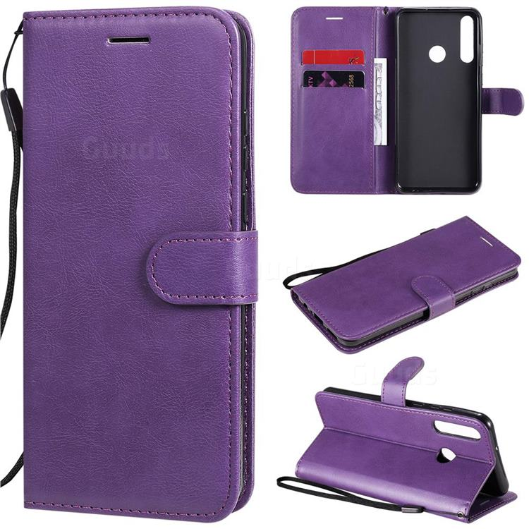 Retro Greek Classic Smooth PU Leather Wallet Phone Case for Huawei Y6p - Purple
