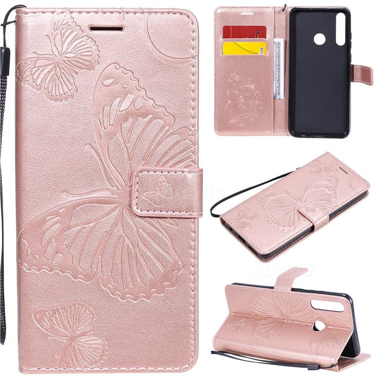 Embossing 3D Butterfly Leather Wallet Case for Huawei Y6p - Rose Gold