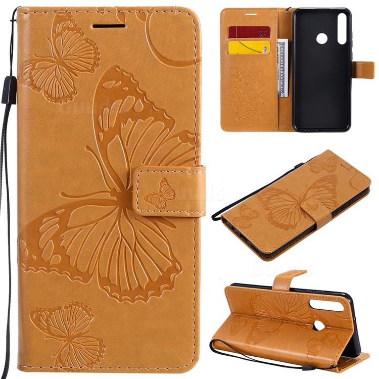 Embossing 3D Butterfly Leather Wallet Case for Huawei Y6p - Yellow