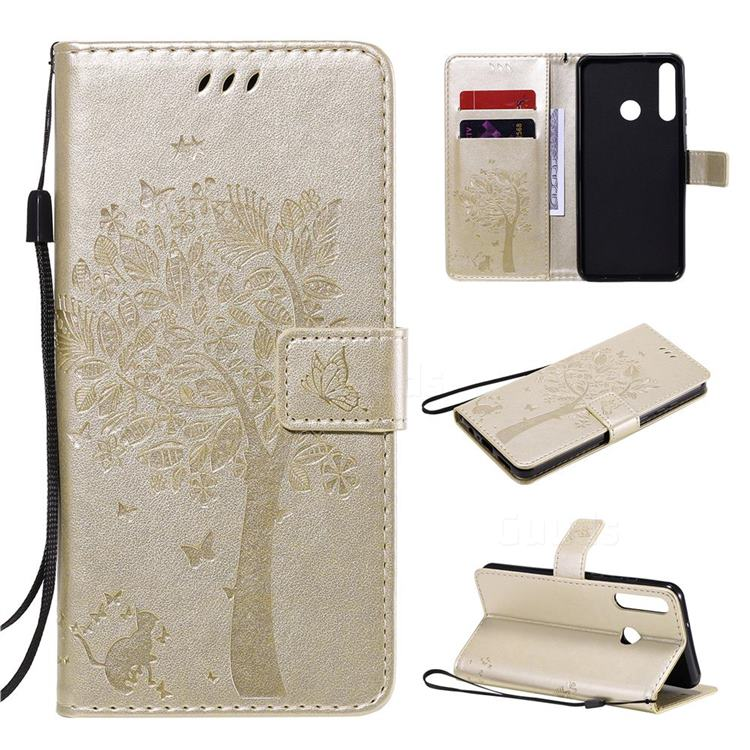 Embossing Butterfly Tree Leather Wallet Case for Huawei Y6p - Champagne