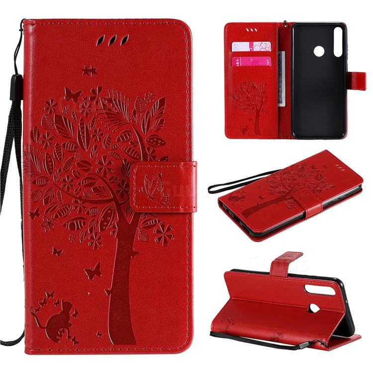 Embossing Butterfly Tree Leather Wallet Case for Huawei Y6p - Red