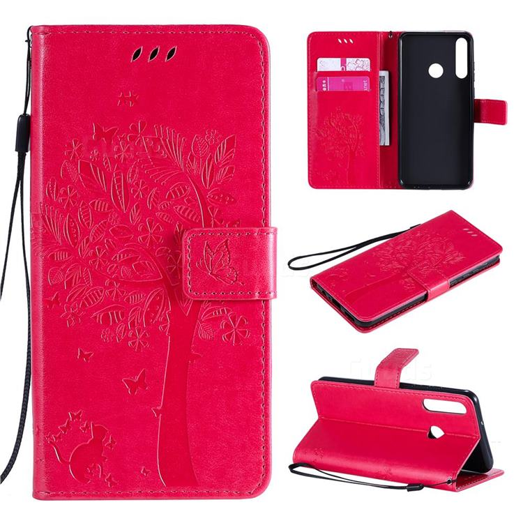 Embossing Butterfly Tree Leather Wallet Case for Huawei Y6p - Rose