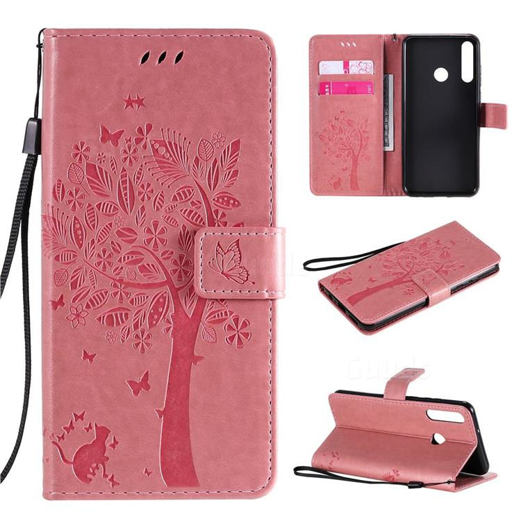 Embossing Butterfly Tree Leather Wallet Case for Huawei Y6p - Pink