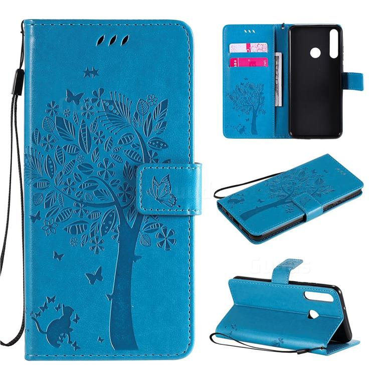 Embossing Butterfly Tree Leather Wallet Case for Huawei Y6p - Blue