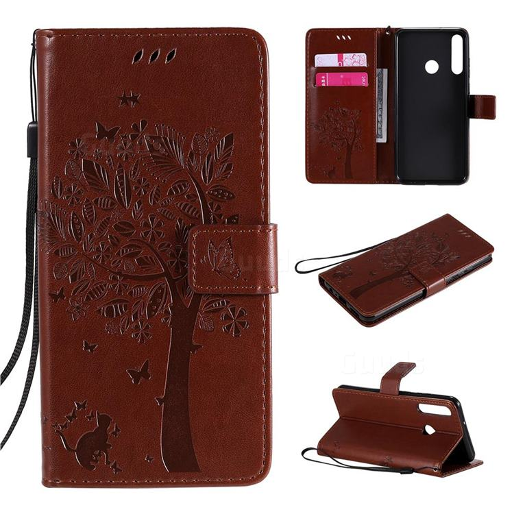 Embossing Butterfly Tree Leather Wallet Case for Huawei Y6p - Coffee