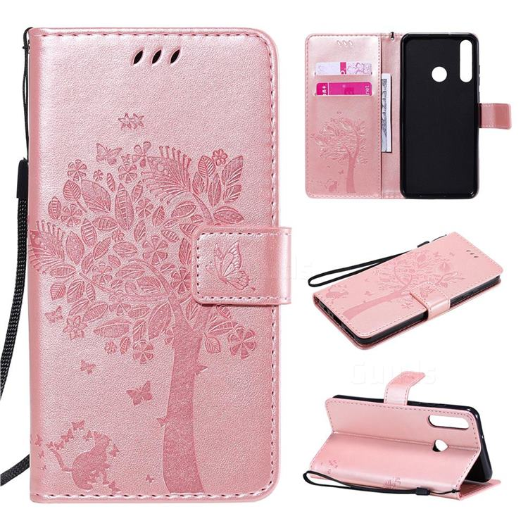 Embossing Butterfly Tree Leather Wallet Case for Huawei Y6p - Rose Pink