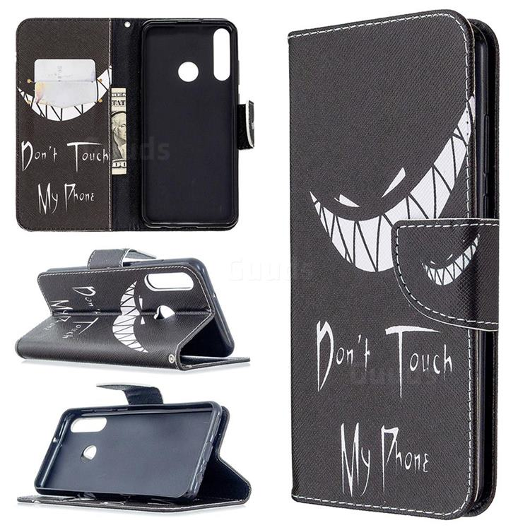 Crooked Grin Leather Wallet Case for Huawei Y6p
