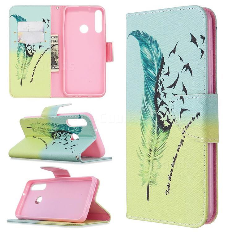Feather Bird Leather Wallet Case for Huawei Y6p
