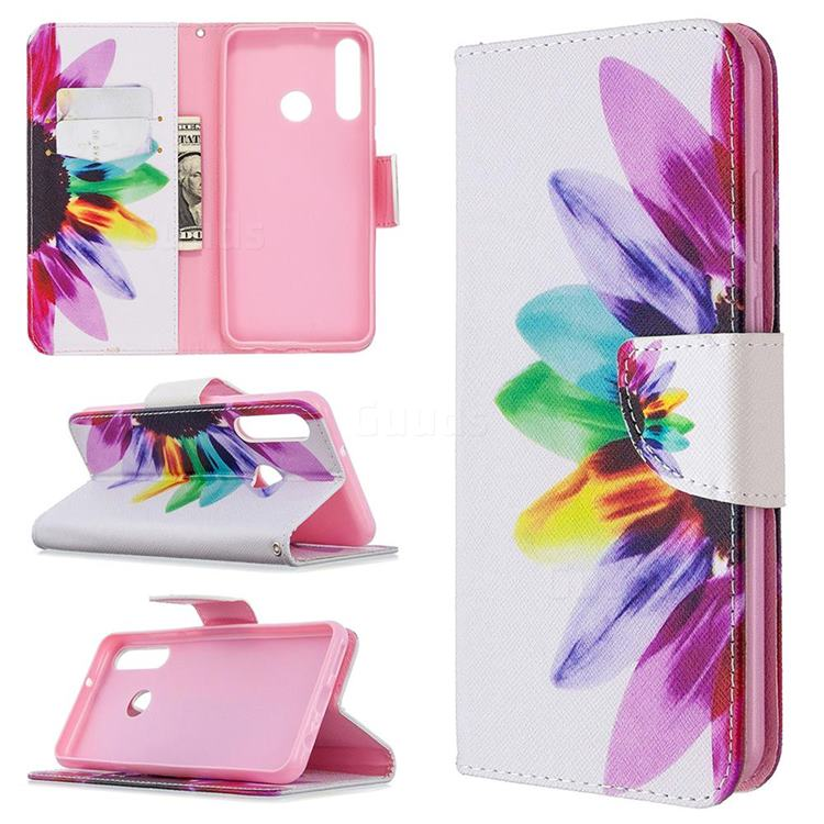 Seven-color Flowers Leather Wallet Case for Huawei Y6p