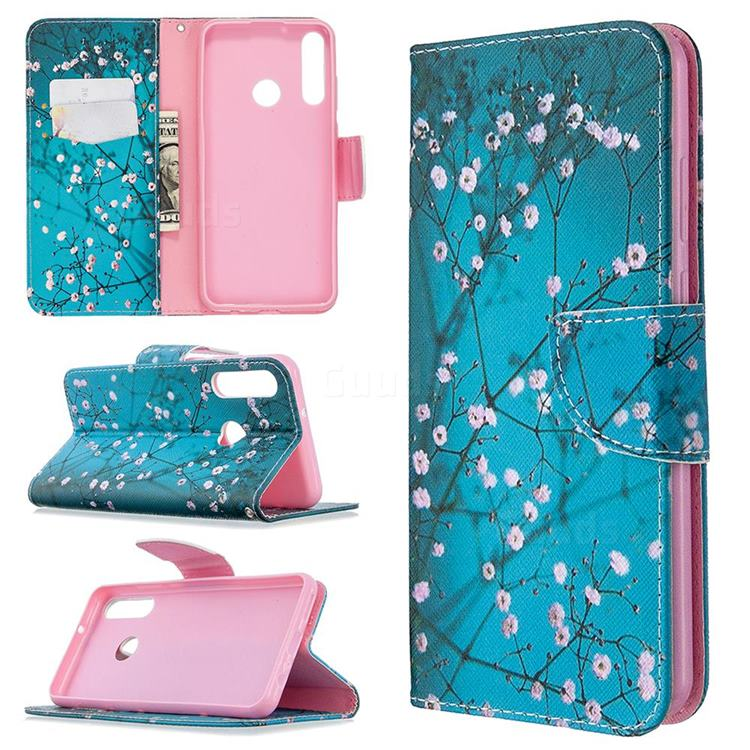 Blue Plum Leather Wallet Case for Huawei Y6p