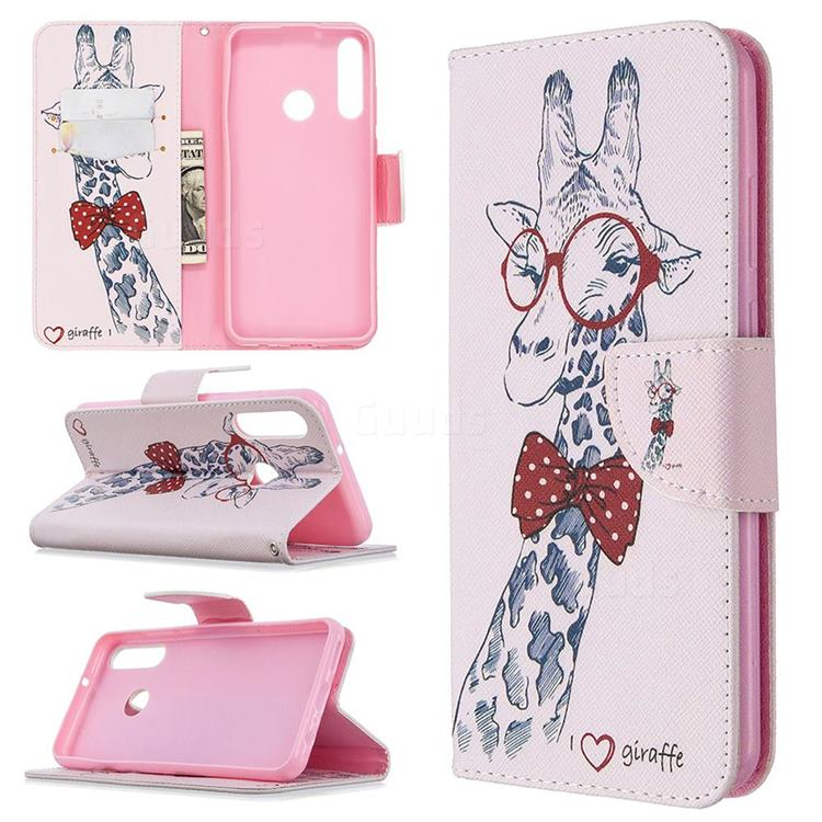 Glasses Giraffe Leather Wallet Case for Huawei Y6p