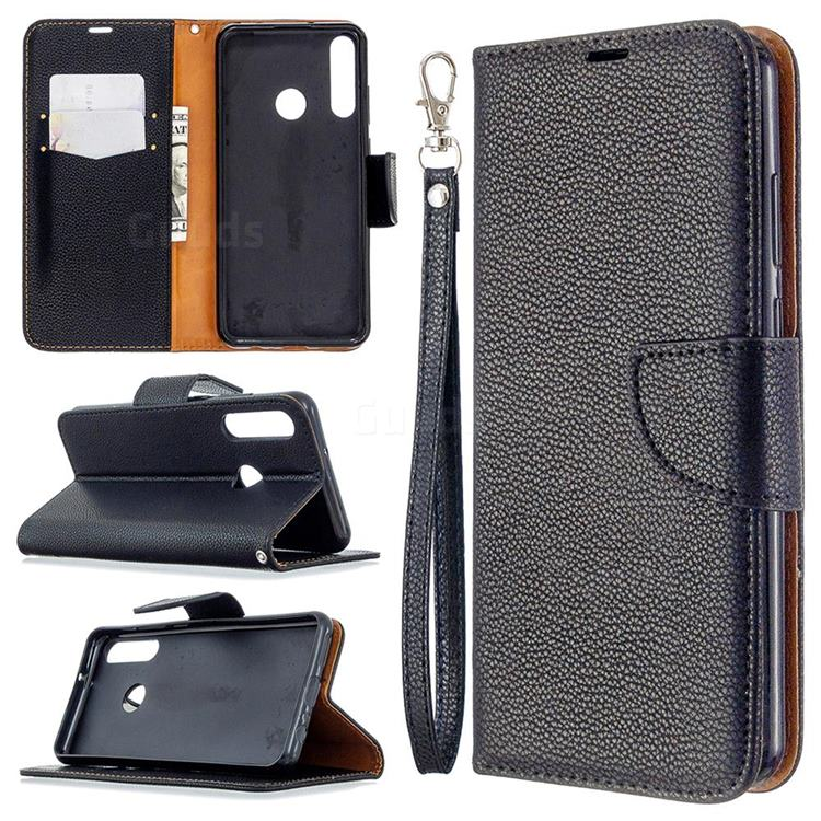 Classic Luxury Litchi Leather Phone Wallet Case for Huawei Y6p - Black