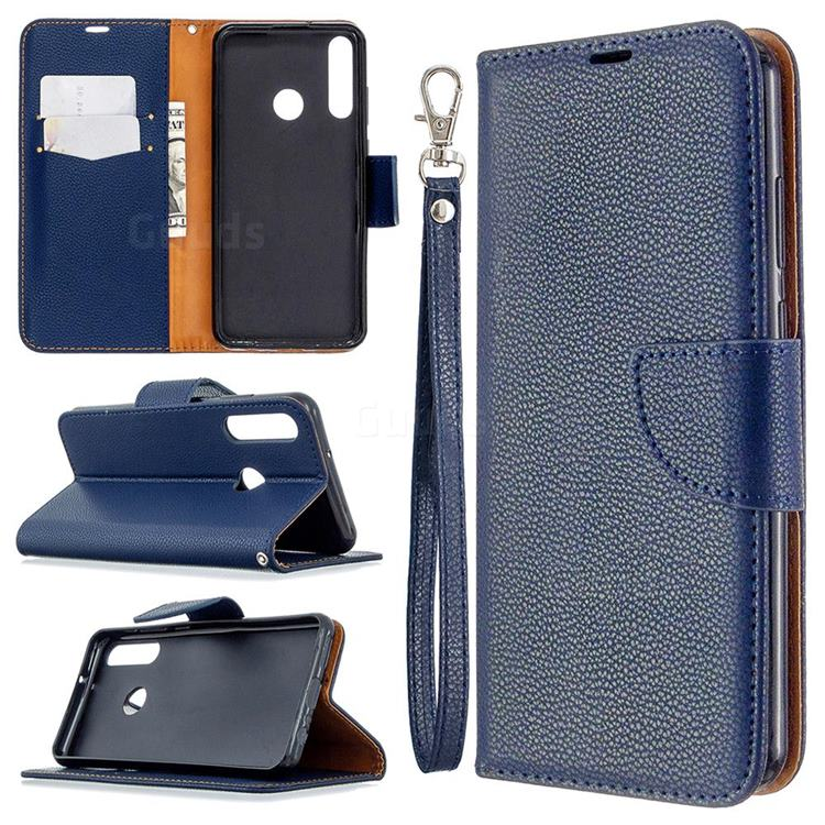 Classic Luxury Litchi Leather Phone Wallet Case for Huawei Y6p - Blue
