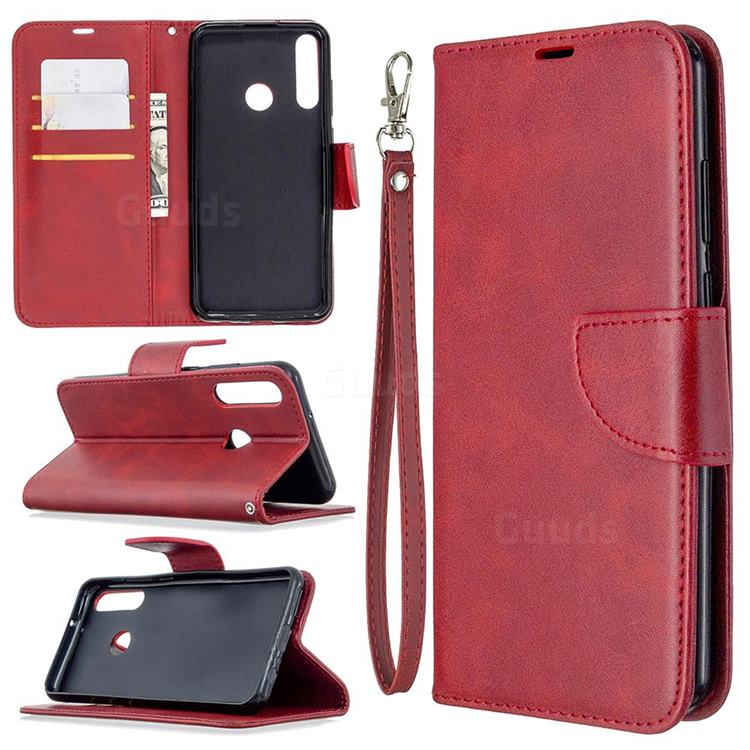 Classic Sheepskin PU Leather Phone Wallet Case for Huawei Y6p - Red