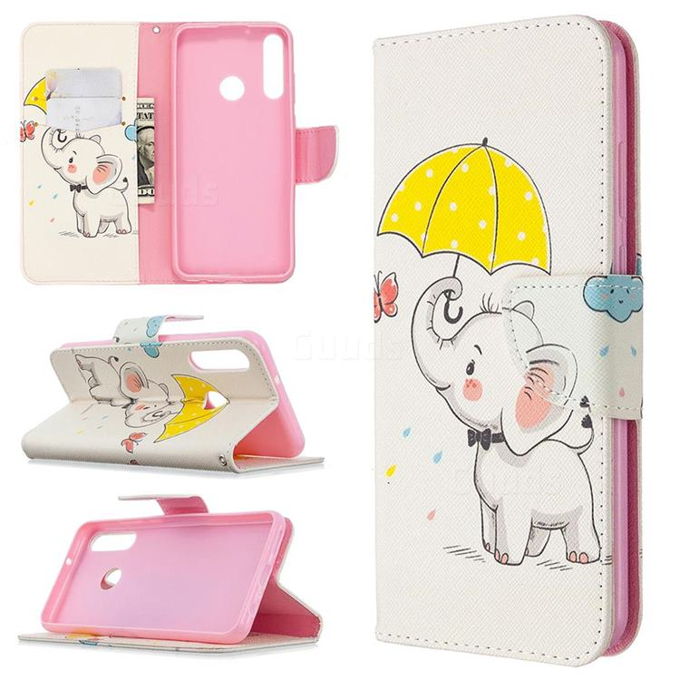 Umbrella Elephant Leather Wallet Case for Huawei Y6p