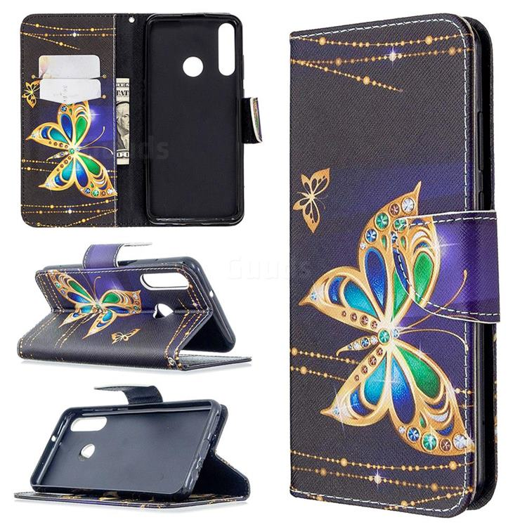 Golden Shining Butterfly Leather Wallet Case for Huawei Y6p