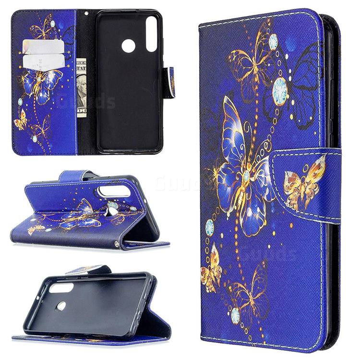 Purple Butterfly Leather Wallet Case for Huawei Y6p