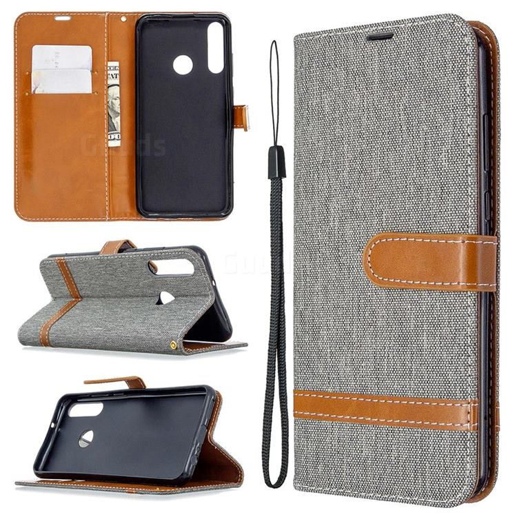 Jeans Cowboy Denim Leather Wallet Case for Huawei Y6p - Gray