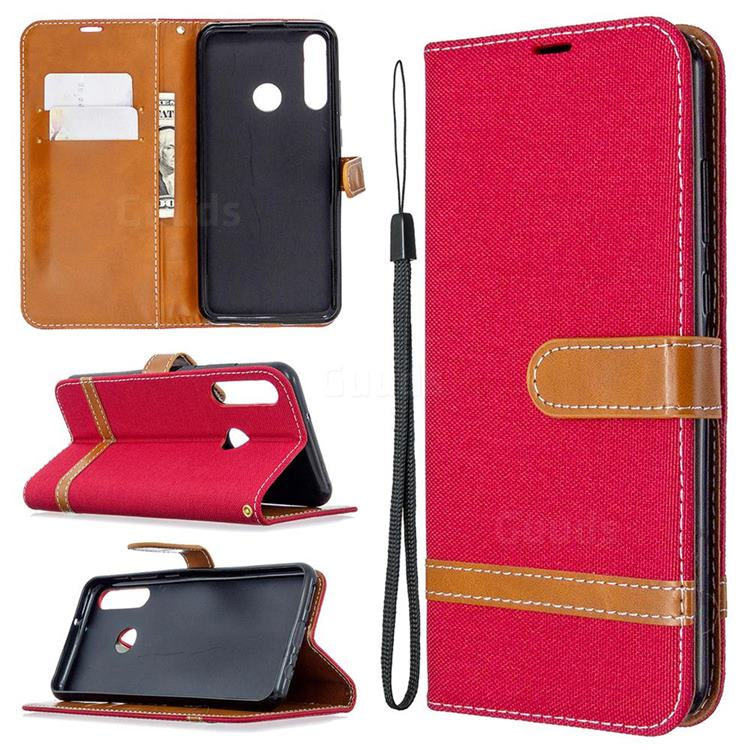 Jeans Cowboy Denim Leather Wallet Case for Huawei Y6p - Red