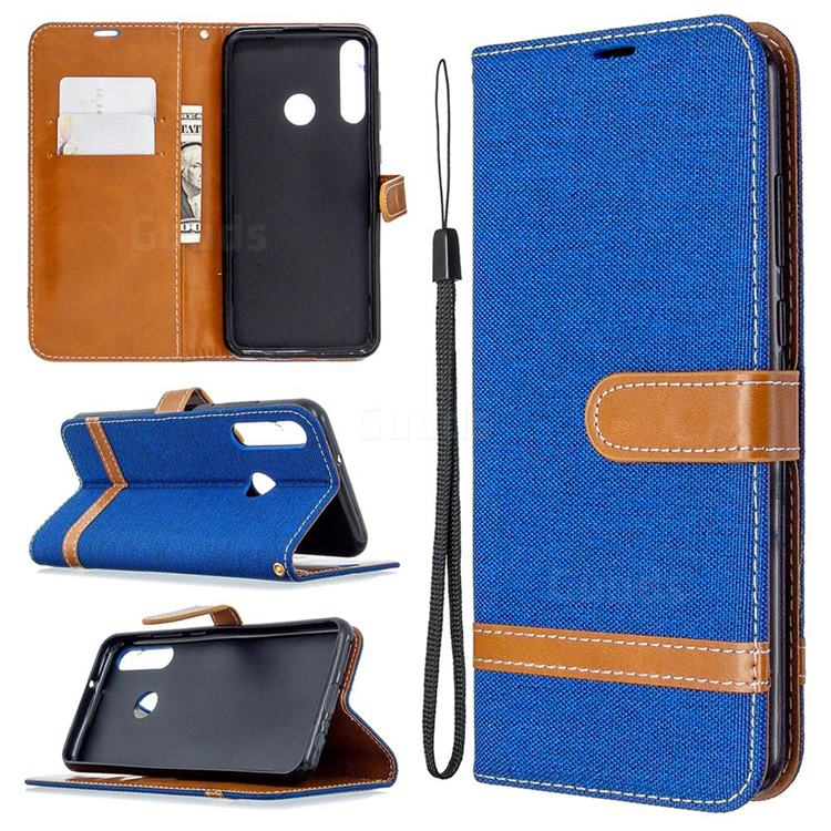 Jeans Cowboy Denim Leather Wallet Case for Huawei Y6p - Sapphire