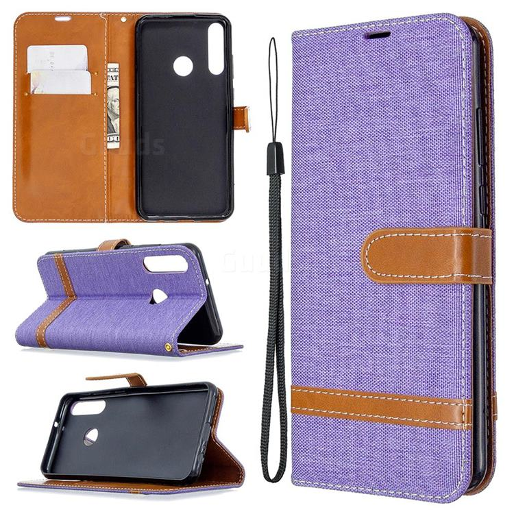 Jeans Cowboy Denim Leather Wallet Case for Huawei Y6p - Purple