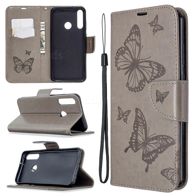 Embossing Double Butterfly Leather Wallet Case for Huawei Y6p - Gray