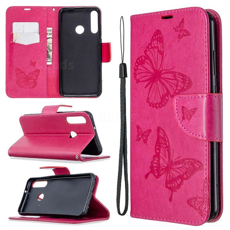 Embossing Double Butterfly Leather Wallet Case for Huawei Y6p - Red