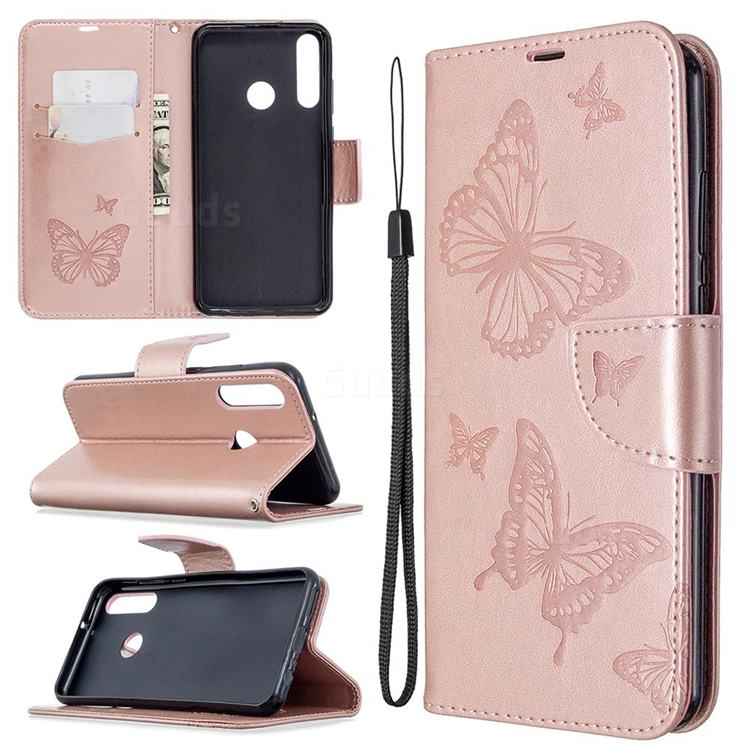 Embossing Double Butterfly Leather Wallet Case for Huawei Y6p - Rose Gold