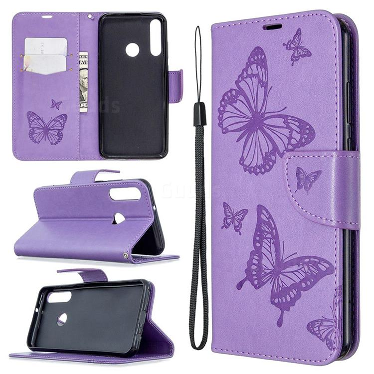 Embossing Double Butterfly Leather Wallet Case for Huawei Y6p - Purple