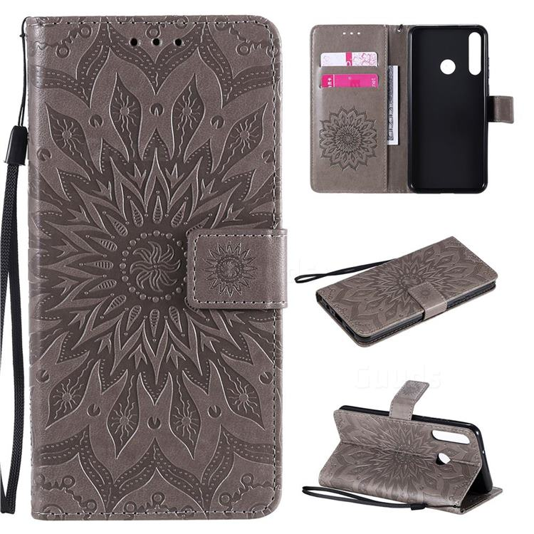 Embossing Sunflower Leather Wallet Case for Huawei Y6p - Gray