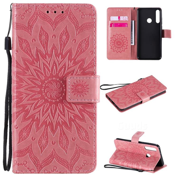 Embossing Sunflower Leather Wallet Case for Huawei Y6p - Pink