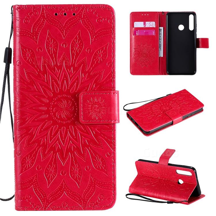 Embossing Sunflower Leather Wallet Case for Huawei Y6p - Red