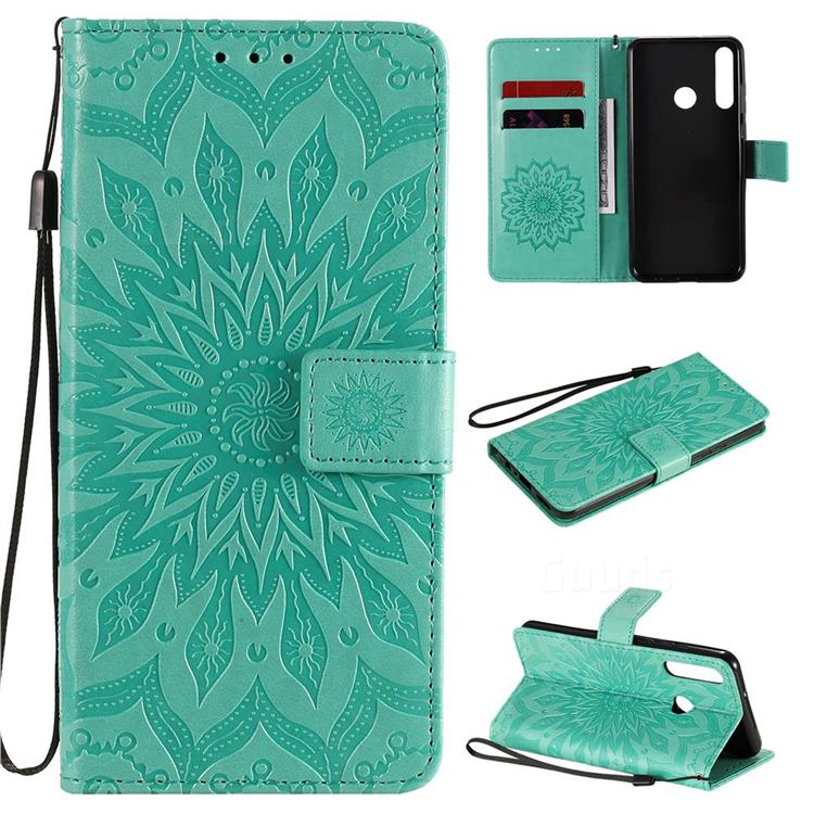 Embossing Sunflower Leather Wallet Case for Huawei Y6p - Green