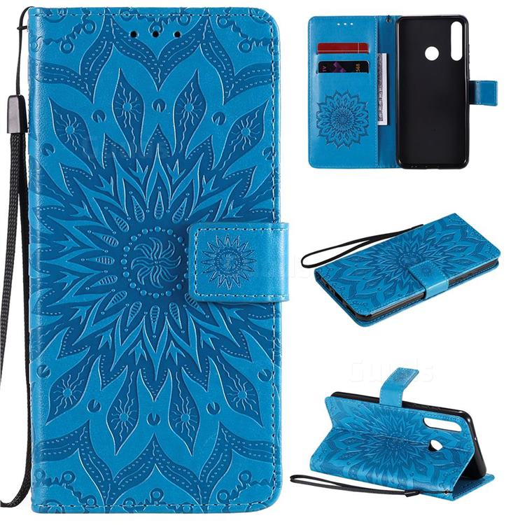 Embossing Sunflower Leather Wallet Case for Huawei Y6p - Blue