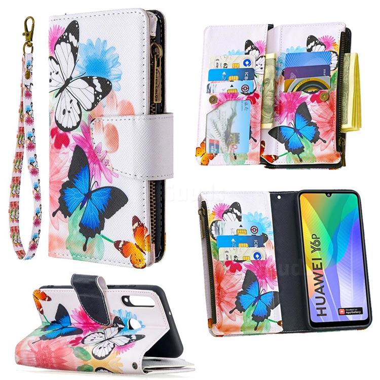 Vivid Flying Butterflies Binfen Color BF03 Retro Zipper Leather Wallet Phone Case for Huawei Y6p