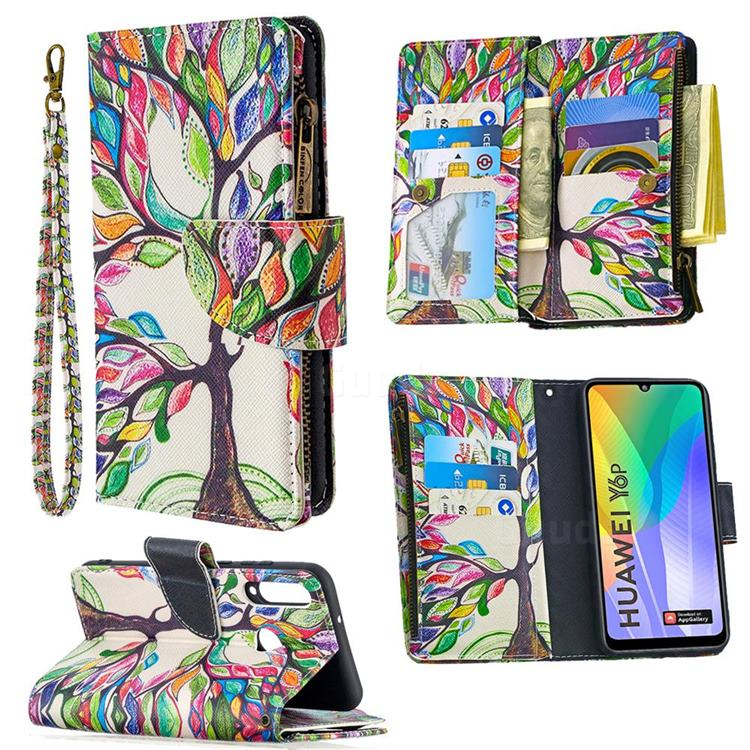 The Tree of Life Binfen Color BF03 Retro Zipper Leather Wallet Phone Case for Huawei Y6p