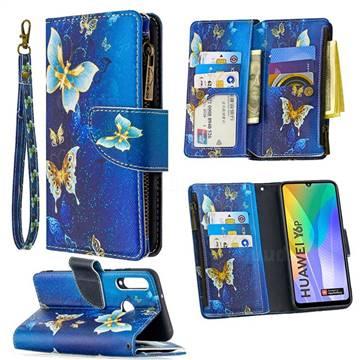 Golden Butterflies Binfen Color BF03 Retro Zipper Leather Wallet Phone Case for Huawei Y6p